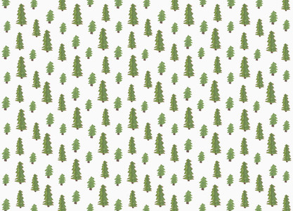 Childs drawing tiny green tree pattern on white background