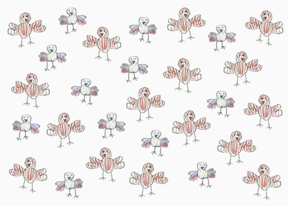 Childs drawing anthropomorphic turkey pattern on white background