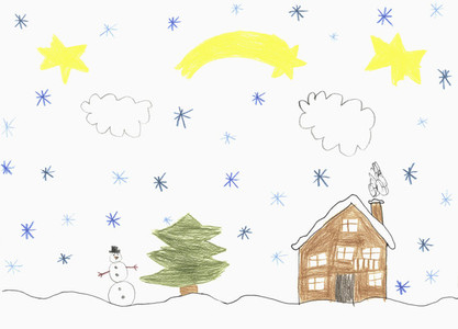 Childs drawing snow falling over house and snowman