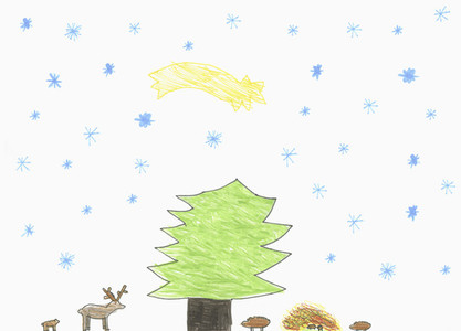 Childs drawing shooting start over tree and forest animals