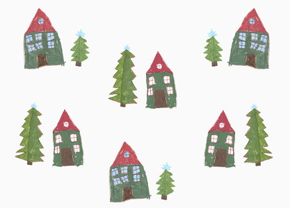 Childs drawing house and Christmas tree pattern on white background