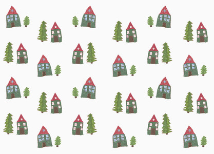 Childs drawing house and tree pattern on white background