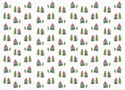 Childs drawing tiny house and tree pattern on white background