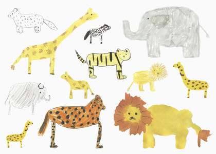 Childs drawing safari animals on whit background