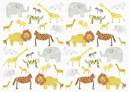 Childs drawing safari animal pattern on white background