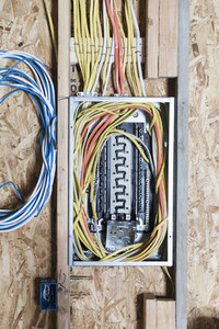 Electric wiring installed in house under construction