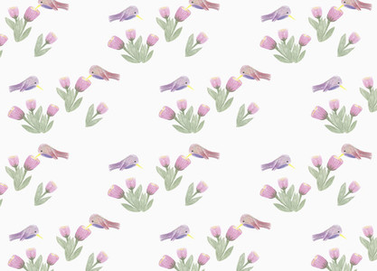 Pink and purple hummingbird and flower pattern on white background