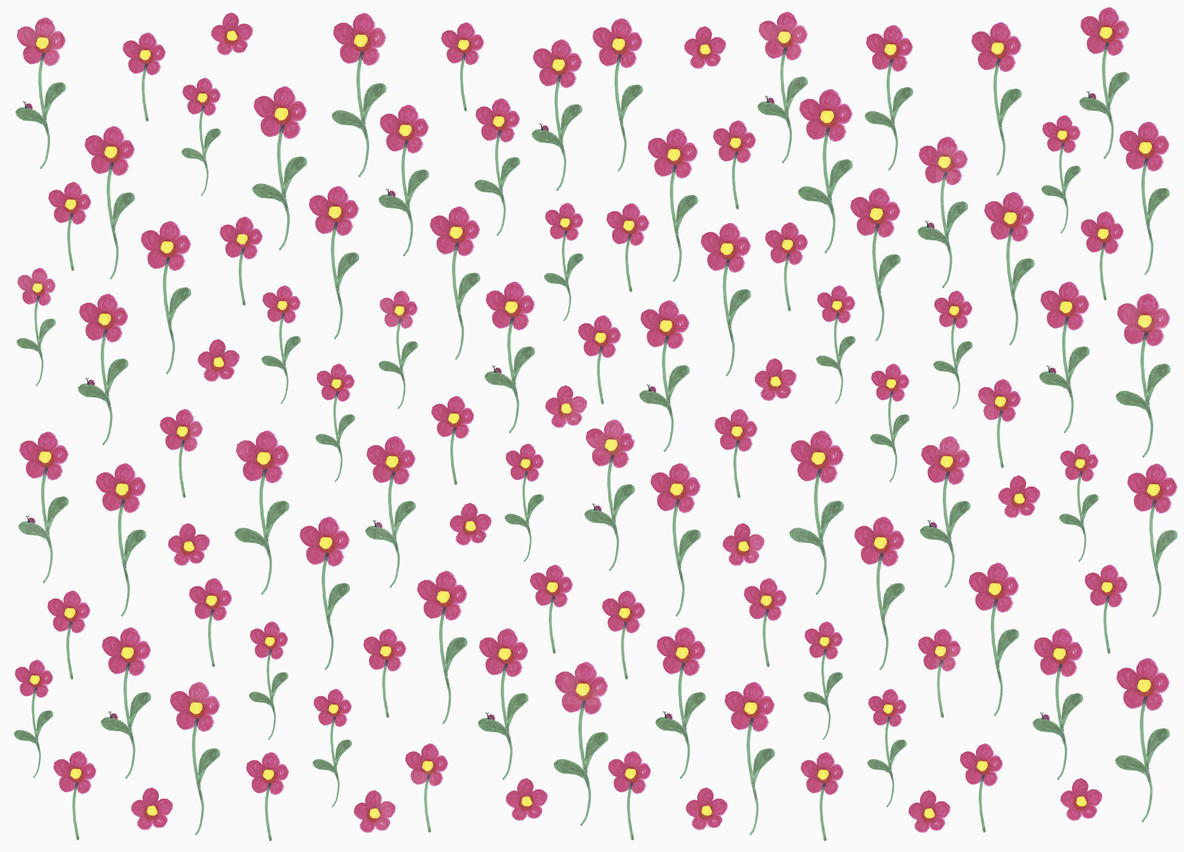 Pink flower pattern on white background