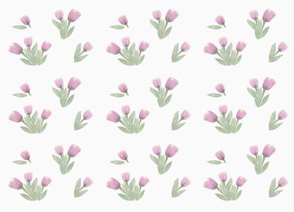 Purple flower pattern on white background