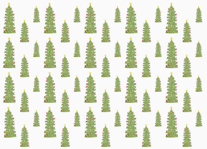 Decorated Christmas tree pattern on white background