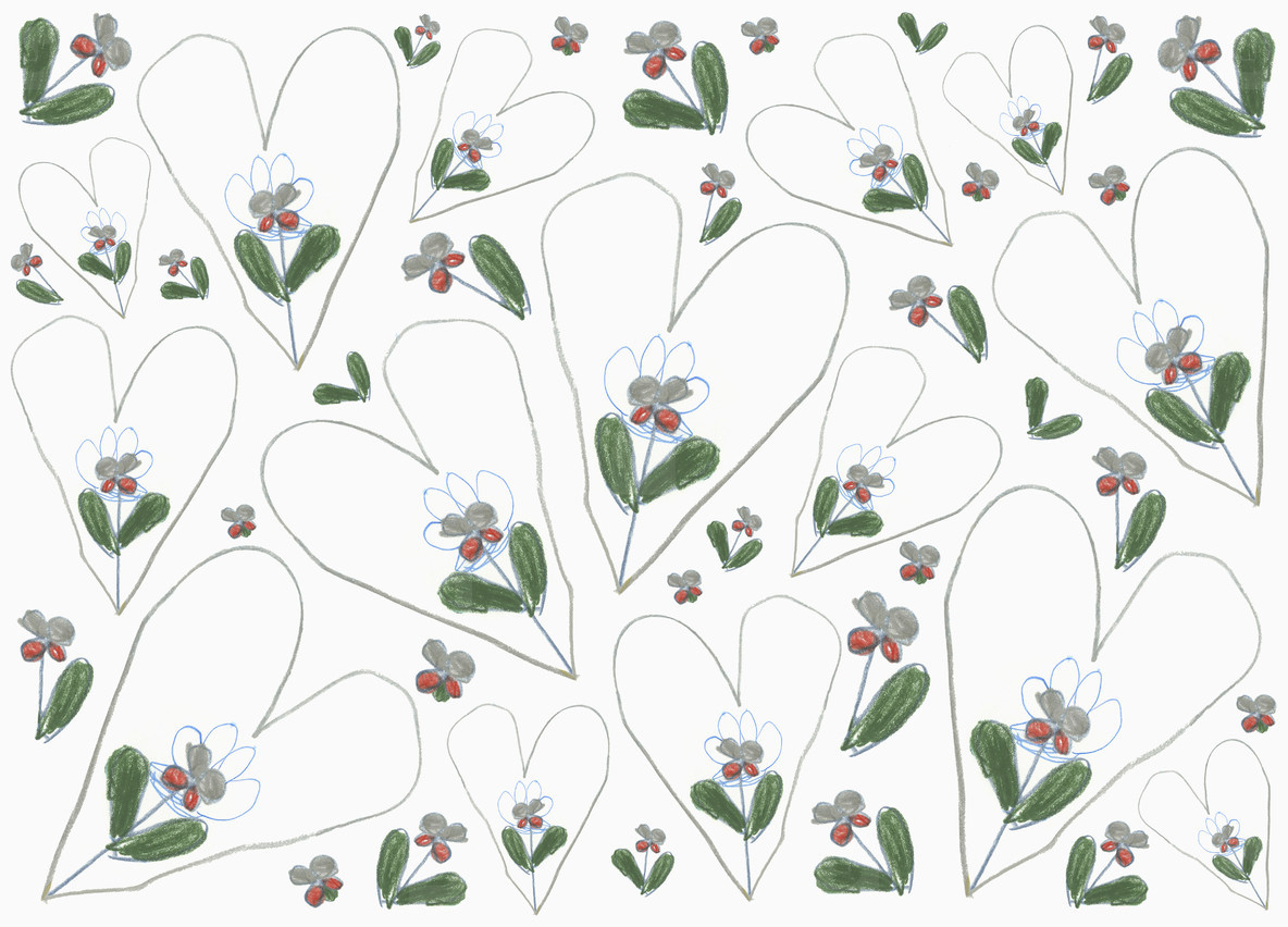 Heart and flower pattern on white background