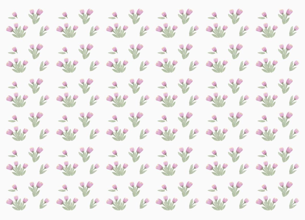 Tiny purple flower pattern on white background