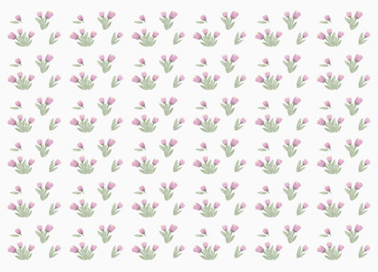 Tiny purple flower pattern on white background