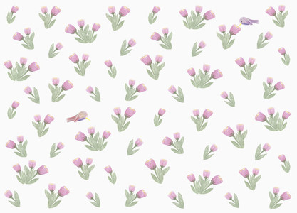 Hummingbirds and purple flower pattern on white background