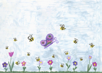 Childs drawing bumblebees and butterfly above springtime flowers