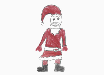 Childs drawing Santa Claus on white background