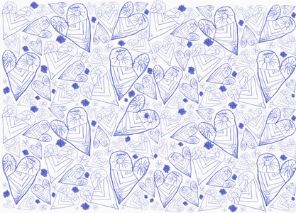 Childs drawing blue heart and sun pattern on white background