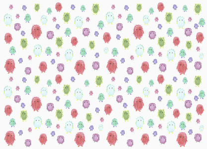 Childs drawing tiny cute multicolor monsters on white background