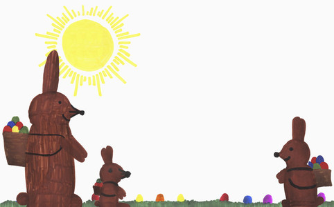 Childs drawing Easter bunnies with eggs in sunny grass
