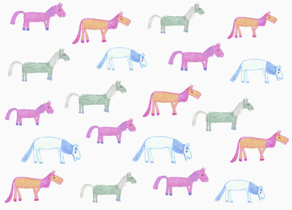 Childs drawing multi colored horse pattern on white background