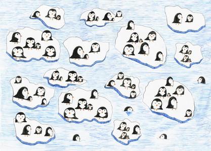Illustration penguins on melting ice
