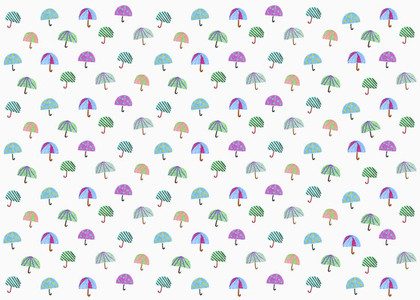 Illustration multi colored umbrella pattern on white background