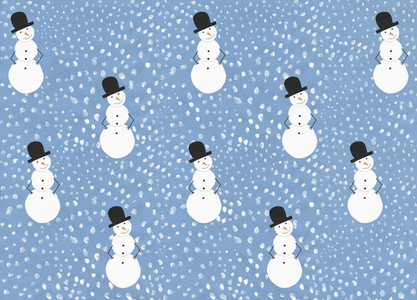 Illustration snow and snowman pattern on blue background