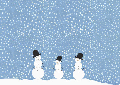 Illustration smiling snowmen against snowy sky