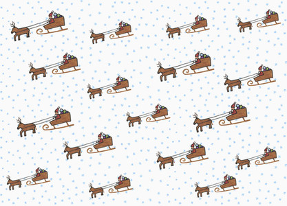 Illustration Santa Claus and sleigh pattern on white background