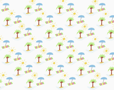 Illustration tropical island and beach umbrella pattern on white background