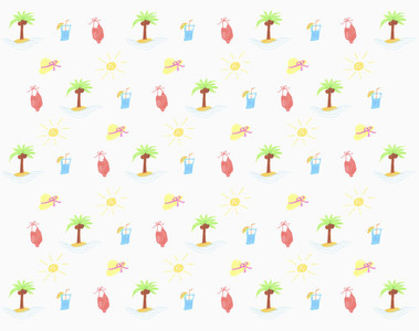 Illustration tropical island and bathing suit pattern on white background