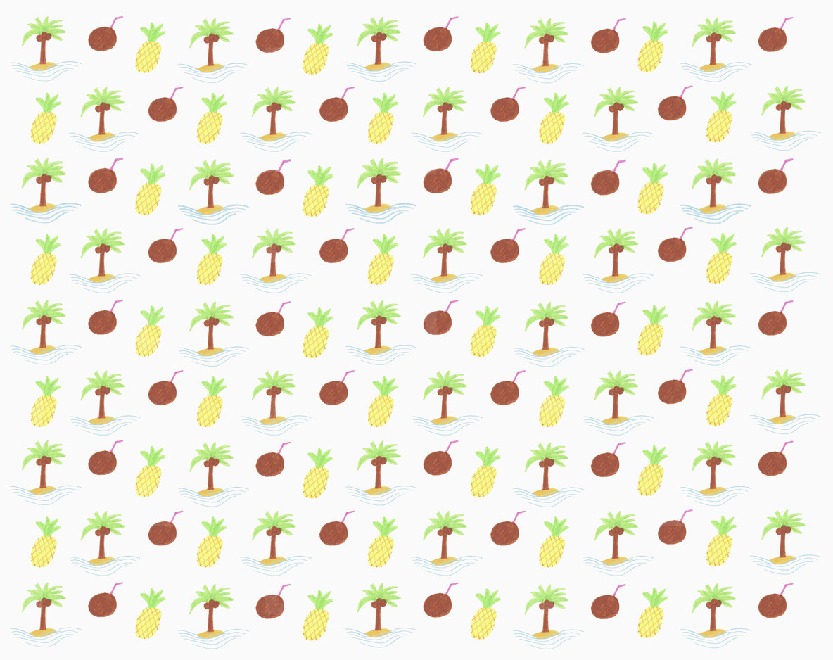 Illustration tropical pineapple and coconut pattern on white background