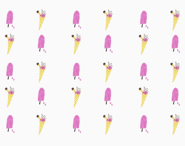 Illustration pink popsicle and ice cream cone pattern on white background