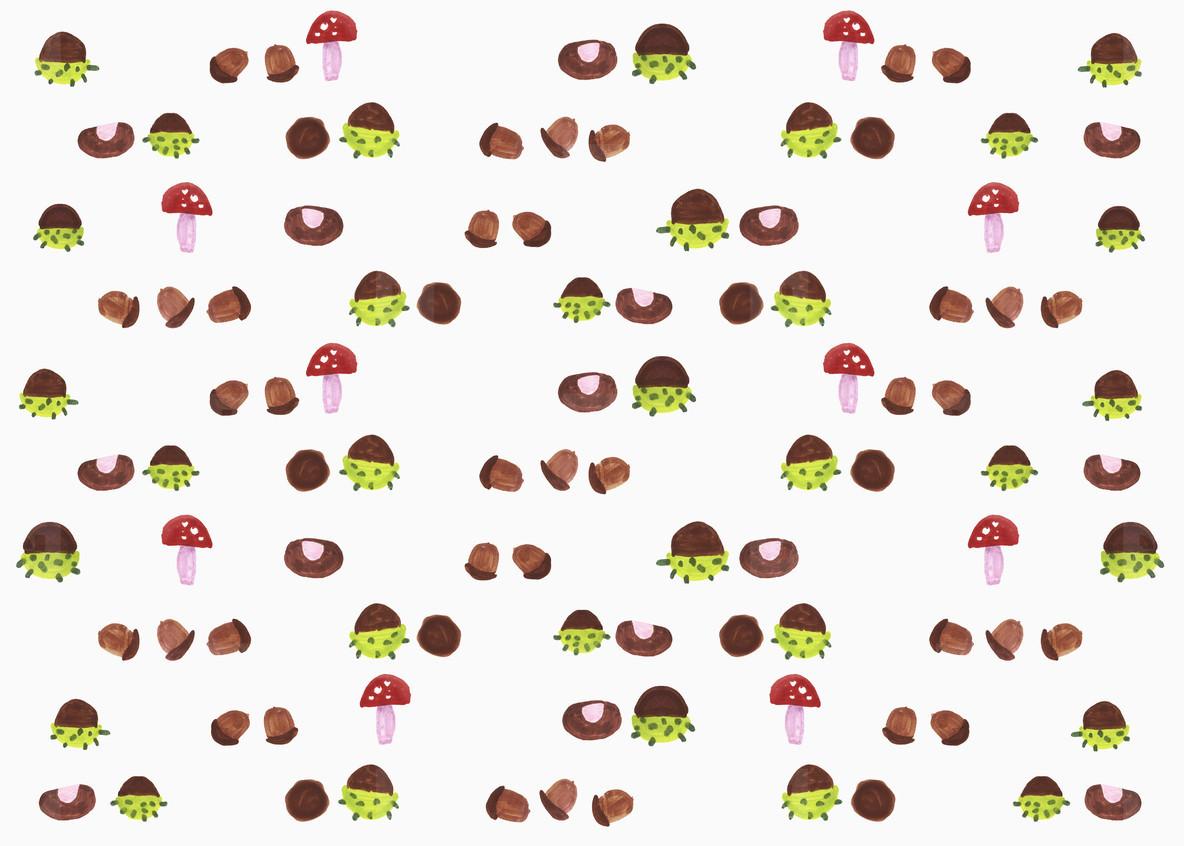 Illustration mushroom and acorn pattern on white background