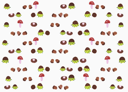 Illustration mushroom and acorn pattern on white background