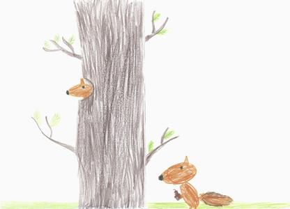 Illustration squirrels at tree