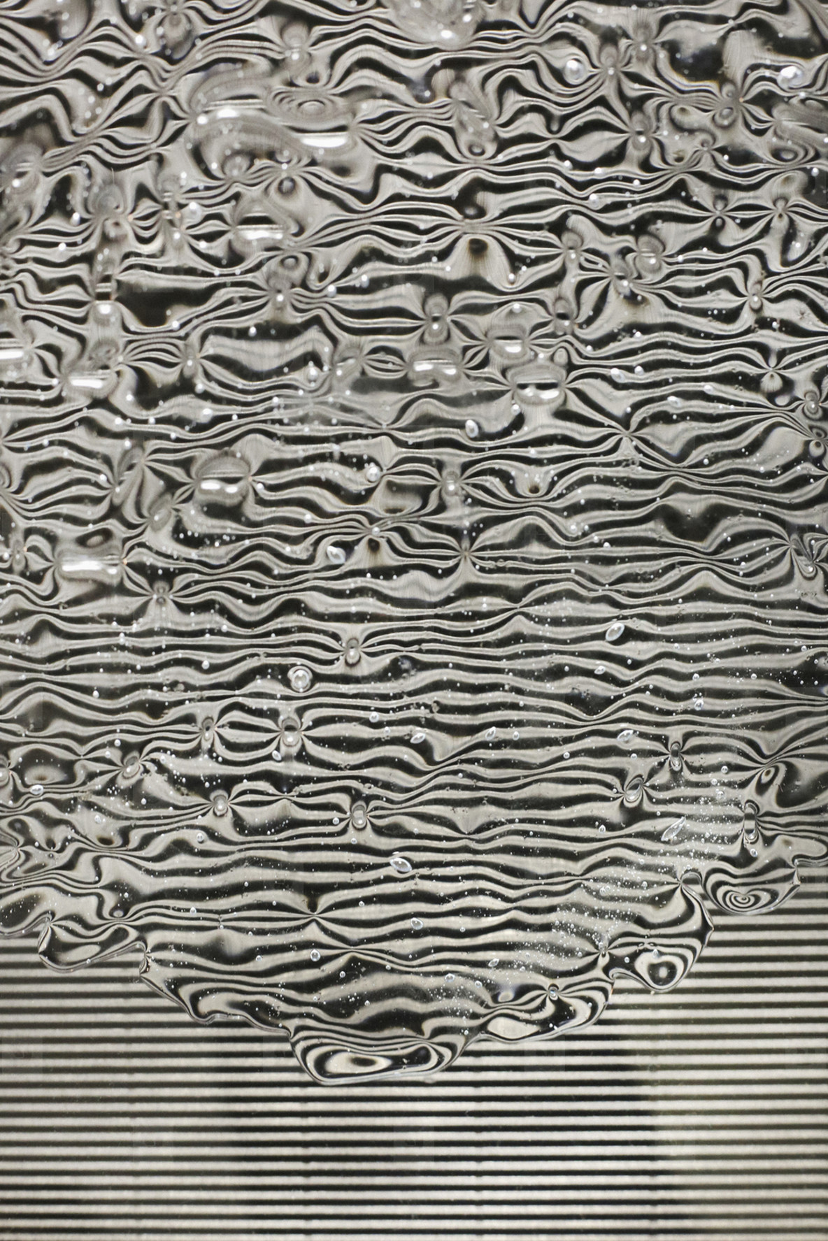 Water rippling black and white lines