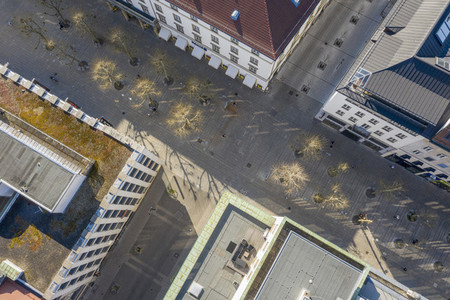 Aerial view empty city streets during COVID 19