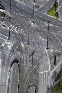 Aerial view vacant intersecting city streets during COVID 19