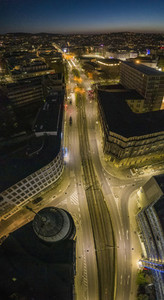 Aerial view empty city streets at night