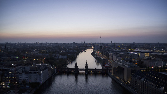 Scenic view Berlin and Spree River at twilight