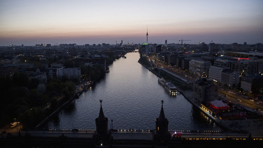 Scenic view Berlin and Spree River at dusk