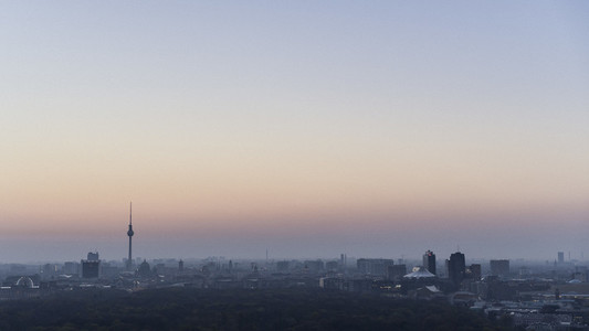 Twilight sky over Berlin and Television Tower