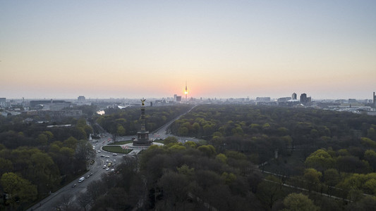 Scenic view Victory Column and Berlin cityscape at sunset