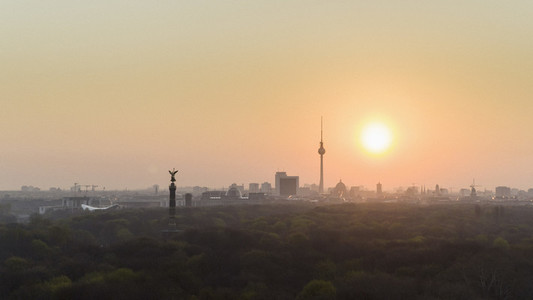 Golden sunset over Berlin cityscape and Television Tower