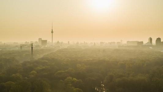 Golden sunset over Berlin and Volkspark Friedrichshain park