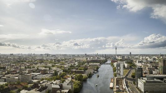 Sunny scenic Berlin cityscape and Spree River