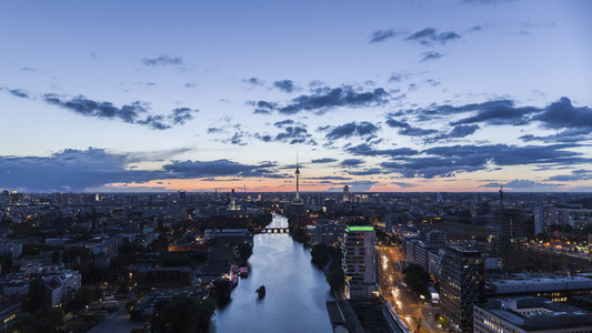Scenic view Berlin cityscape and Spree River at twilight