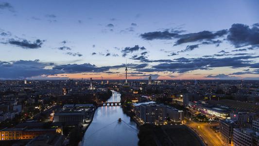 Berlin cityscape illuminated at night