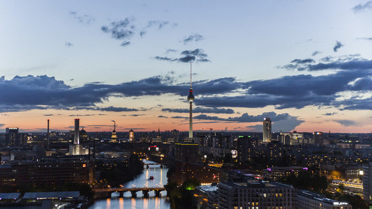 Television Tower and Berlin cityscape illuminated at night
